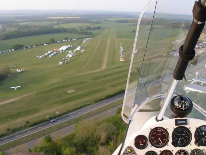 On final approach to the grass runway at Popham in Hampshire
